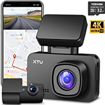 Dash Cam, XTU Front 4K UHD Dual Dash Cam 1440P+1080P, Built-in WiFi GPS Battery, HD Night Vision, Magnetic Mount, Loop Recording, G-Sensor, Mini Size, Gesture Snapshot,170° Angel (Free 32G SD Card)