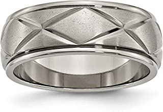 Jewels By Lux Titanium Polished X-Design 8mm Satin Center Ridged Edge Band