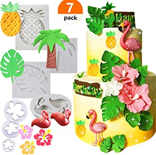 Set of 7 JeVenis Tropical Theme Cake Fondant Mold Flamingo Pineapple Palm Leaves Coconut Tree Flowers Candy Chocolate Mold for Hawaiian Summer Luau Cake Decorating