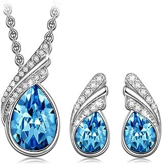 Kami Idea Mujer Conjunto de Joyas, Pluma Azul, Collar y Pendientes, Cristales de Swarovski, Embalaje de Regalo, Regalos pa...