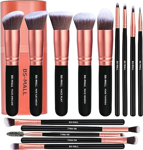 BS-MALL Makeup Brushes Premium Synthetic Foundation Powder Concealers Eye Shadows Makeup 14 Pcs Brush Set, Rose Golde...