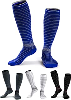 Compression Socks for Women Nurse Men Funny Knee High Sports Compression Stocking for Running Traveling Maternity (4 Pairs)