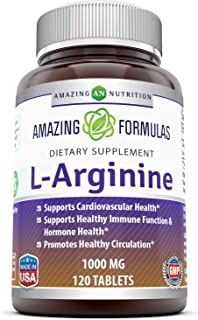 Amazing Nutrition L-Arginine 1000mg Supplement - Best Amino Acid Arginine HCL Supplements for Women & Man - Promotes Circu...