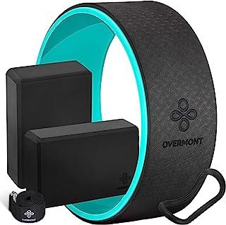 OVERMONT Kits de Yoga 5-en-1, 1 Roue de Yoga, 2 Briques Yoga, 1 Ceinture, 1 Anneau d'extension Rouleau arrière de qualité ...
