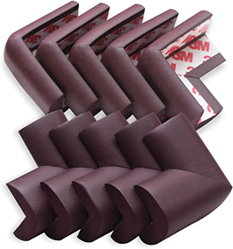 AMAZARA Baby Proofing Corner Guards I Pre-Taped Corner Protectors I Child Safety Edge Guards I 10 Pieces Brown
