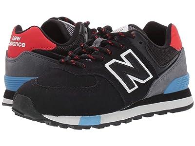 New Balance Kids 574v1-USA (Little Kid) (Black/Velocity Red) Kids Shoes