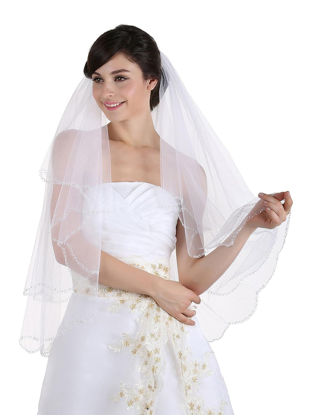 2T 2 Tier Beaded Scallop Edge Bridal Veil Fingertip Length 36