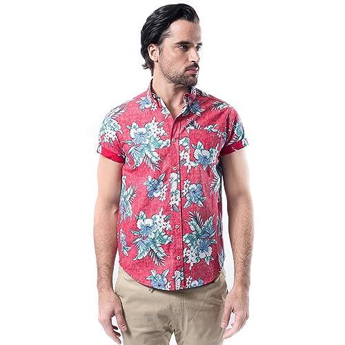 bdc54d80aca9 Brooklyn Athletics Men s Hawaiian Aloha Shirt Vintage Casual Button Down Tee