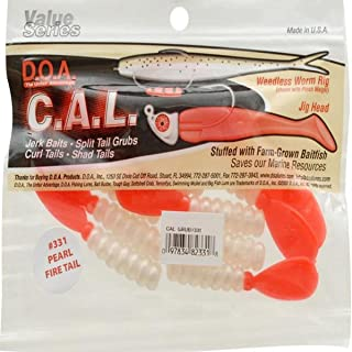 "product image for D.O.A. CAL Grub Tail 3"" 13per pk Pearl Fire Tail #CAL-G13-331"
