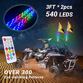 Beatto 3FT(0.9M) RF Remote Control 360° Sprial LED Whips Light With Dacning/Chasing Light LED Antenna Light For Off- Road Vehicle ATV UTV RZR Jeep Trucks Dunes.(2 PCS)