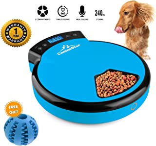 Pet Feeder Automatic, Intelligent Real Voice Recorder Timer Automatic Cat Feeder with LCD Display and 5 Meal 5 x 240ML Trays Dry Wet Food Auto Feeder for Cat Dog Animal by CanineStar