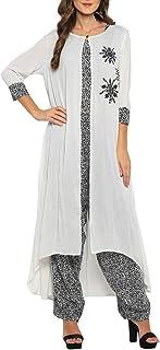 Pannkh Camiseta de mujer con Dhoti Salwar con chaqueta larga bordada