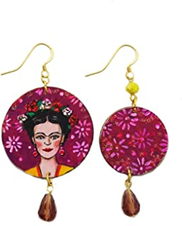 Orecchini dipinti a mano – LOVE FRIDA - Orecchini pendenti da donna, Gioielli in legno dipinto, Gancio in argento, Made in...