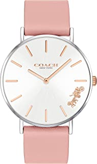Coach Women'S Silver White Dial Blush Calfskin Watch - 14503258