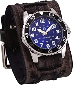 Nemesis #DXBB227L Men's Super Night Glow Wide Leather Double X Cuff Blue Dial Watch