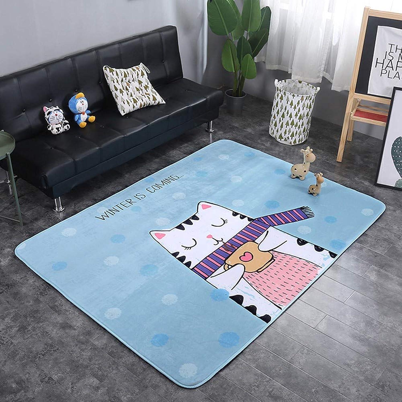 Mengjie Four Season Baby Crawling Mat Cartoon suede 15MM for Living Room Bedroom for Relaxing Reading Baby Pet,bluee kitten,150  200cm