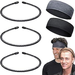 5 Pack Unisex Wavy Spring Headband, 3 Pack Nonslip Metal Hair Hoop Hair Band + 2 Pack Mens Sweatband Ordinary Headwear Hai...