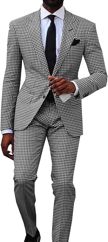 Men's Two Piece Plaid Suit Groomsmen Shawl Lapel Suit/Bridegroom/Wedding/Prom Suits (Picture Color,38US/UK & 48EU)