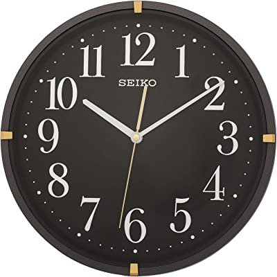 Seiko Black Dial Metallic Black Round Plastic Wall Clock for Home Office Décor 13 * 13 Inches