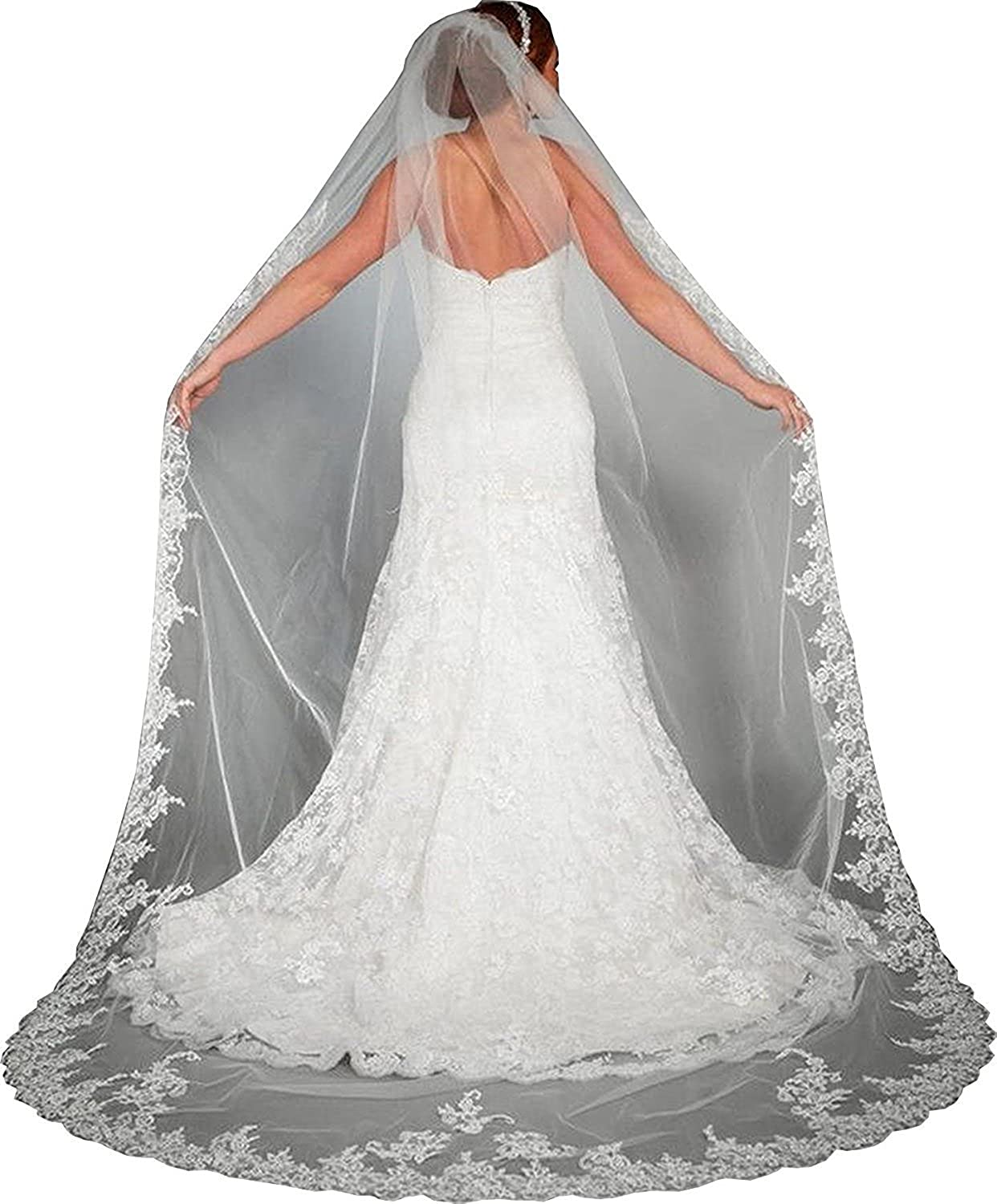 Cathedral Length Lace Edge Rhinestone Bridal Wedding Bridal Veil with Comb