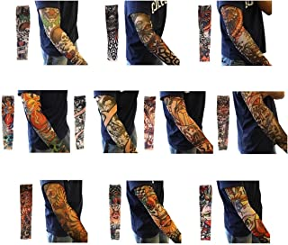 10PCS Set Arts Fake Temporary Tattoo Arm Sunscreen Sleeves - - Designs Tiger, Crown Heart, Skull, Tribal and Etc