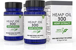 Hemp Oil Capsules 2-Pack for Pain Relief, Reduce Stress, Anti-Anxiety, Natural Anti Inflammatory, Rich in MCT Fatty Acids, Herbal Sleep Supplement - Grown and Made in USA - 60 Caps
