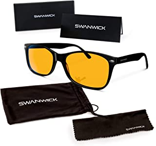 Swannies Blue Light Blocking Computer Glasses with Orange Lens for Night Use - UV Protection Anti Eye Strain Tired Eye Relief (Black) Regular
