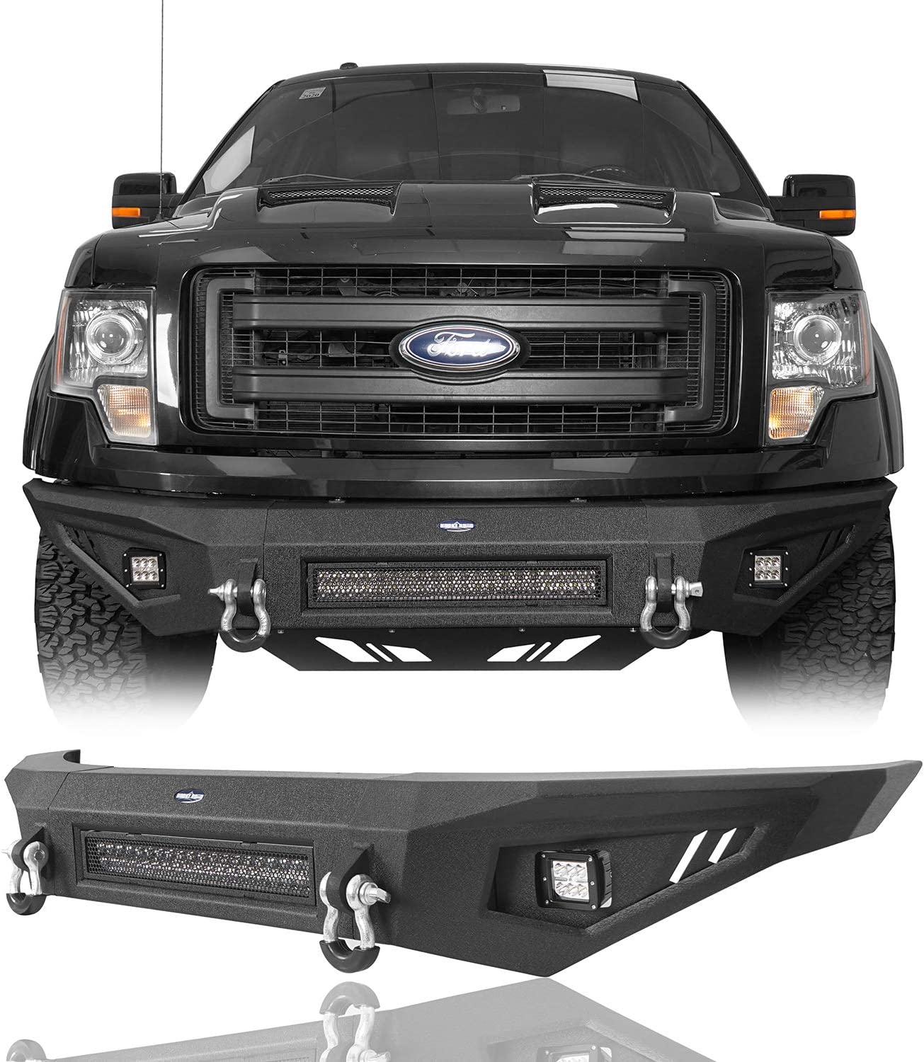 Amazon Com Hooke Road F150 Steel Full Width Front Bumper W 120w Led Light Bar Compatible With Ford F 150 Excluding Raptor 2009 2010 2011 2012 2013 2014 Pickup Truck Automotive