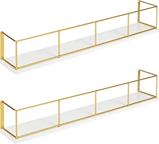 Kate and Laurel Benbrook 2-Pack Wood and Metal Floating Wall Shelves, 24 inch, White and Gold