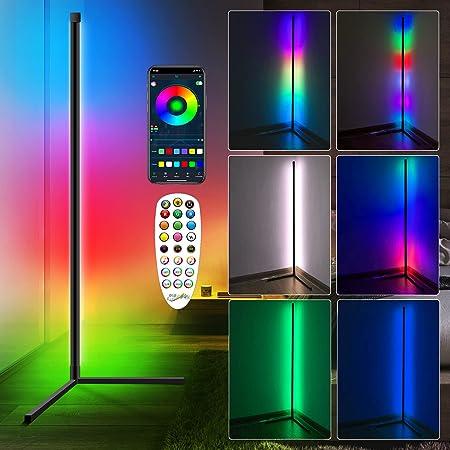 Lampadaire LED Salon,RGBW Lampadaire sur Pied d'angle Lampe d'intérieur Éclairage décoratif Lampe Debout Lumière Couleurs réglable avec télécommande pour Salon Chambre Cuisine
