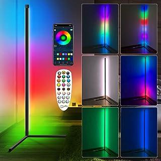 Lampadaire LED Salon,RGBW Lampadaire sur Pied d'angle Lampe d'intérieur Éclairage décoratif Lampe Debout Lumière Couleurs ...