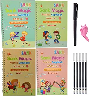 4 Pack Magic Practice copybook with Pen,That can be reused Tracing Paper Mathematical Drawing Set,Preschoolers & Kindergar...