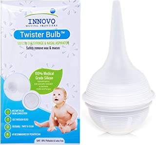 Innovo Hospital Grade Silicone Twister Bulb Baby Nasal Aspirator and Ear Syringe, Snot Sucker and Mucus Sucker, Non-Toxic ...