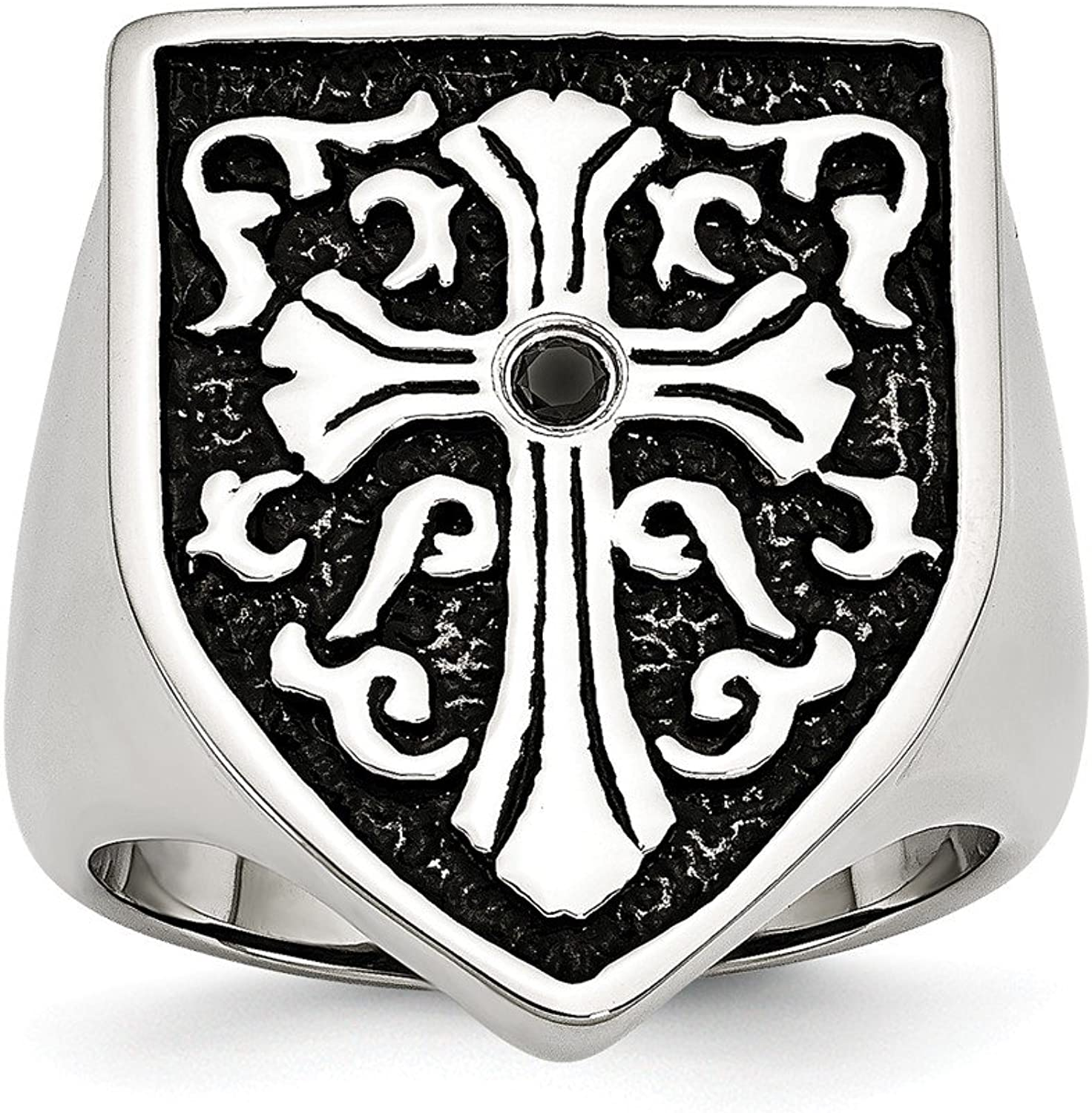 Beautiful Stainless Steel Cross w Black Diamond Antiqued Shield Ring