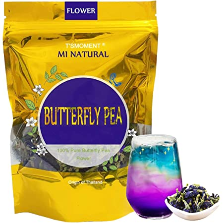 Butterfly Pea Flowers Tea 50g(1.76 Oz.), Non-GMO 100% Pure and Fresh Dried Flower Blue Tea for Drinks, Food Coloring