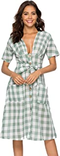 Zredurn Women's Casual U Neck Plaid Short Sleeve Dress with Pockets, Belted Maxi Dress