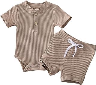 الوليد بيبي بوي فتاة رومبير قصيرة الأكمام ارتداءها السراويل مضلع 2PCS 2PCS (Color : Brown, Kid Size : 18M)