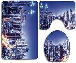 MEWSGK Toilet seat Cover, Personalized 3PCS Non Slip Toilet Seat Cover Rug Bathroom City Dubai Downtown UAE Night Scenery Modern High Rise Buildings Travel Destination
