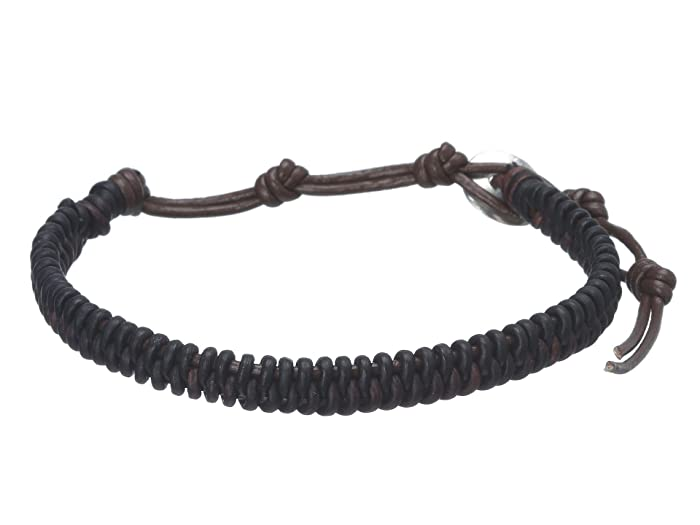 Chan Luu  7 Braided Leather Bracelet 2 tone (Natural Dark Brown/Natural Black) Bracelet