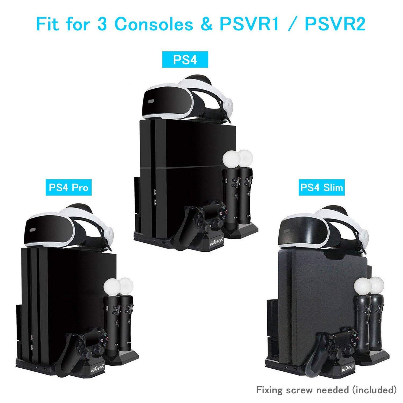 Versión Actualizada] ieGeek Soporte de Carga PSVR, Stand Vertical PS4 Pro / PS4 Slim / PS4, [Todo en 1] Accesorio PS4 PlayStation VR, Refrigerador PS4, Cargador para Mandos DualShock 4 y PS