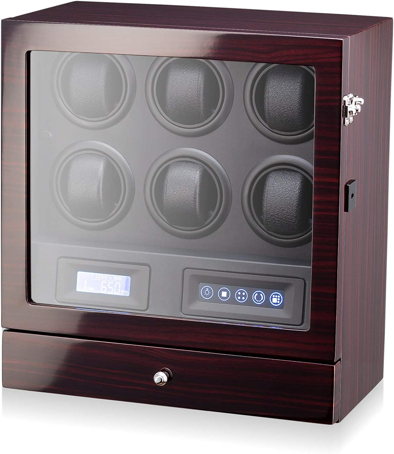 Watch Winder for 6 Watches with Ba LED 2 Award-winning store Super sale Drawer Storage