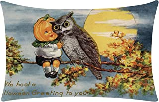 Halloween Pillow Covers 12X20 Vintage Crow Owl Skull Pumpkin Print Throw Pillow Cases Cotton Linen Soft Sofa Couch Bed Car Cushion Pillowcase Halloween Home Decorations