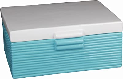 Privilege International 45151 Ceramic Box, Large, Blue and White