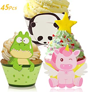 Little Siena Unicorn Cupcake Wrappers Toppers Set (45 PCS), Little Panda Cupcake Toppers Cake Table Decorations Party Supplies for Boys Kids Birthday Party Decor Favors- Crocodile