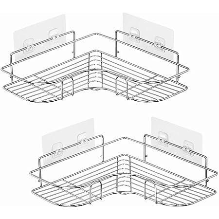 お風呂ラック ステンレス製 強力粘着固定 バスラック シャンプーラック 浴室用ラック 洗面所 収納 シルバー