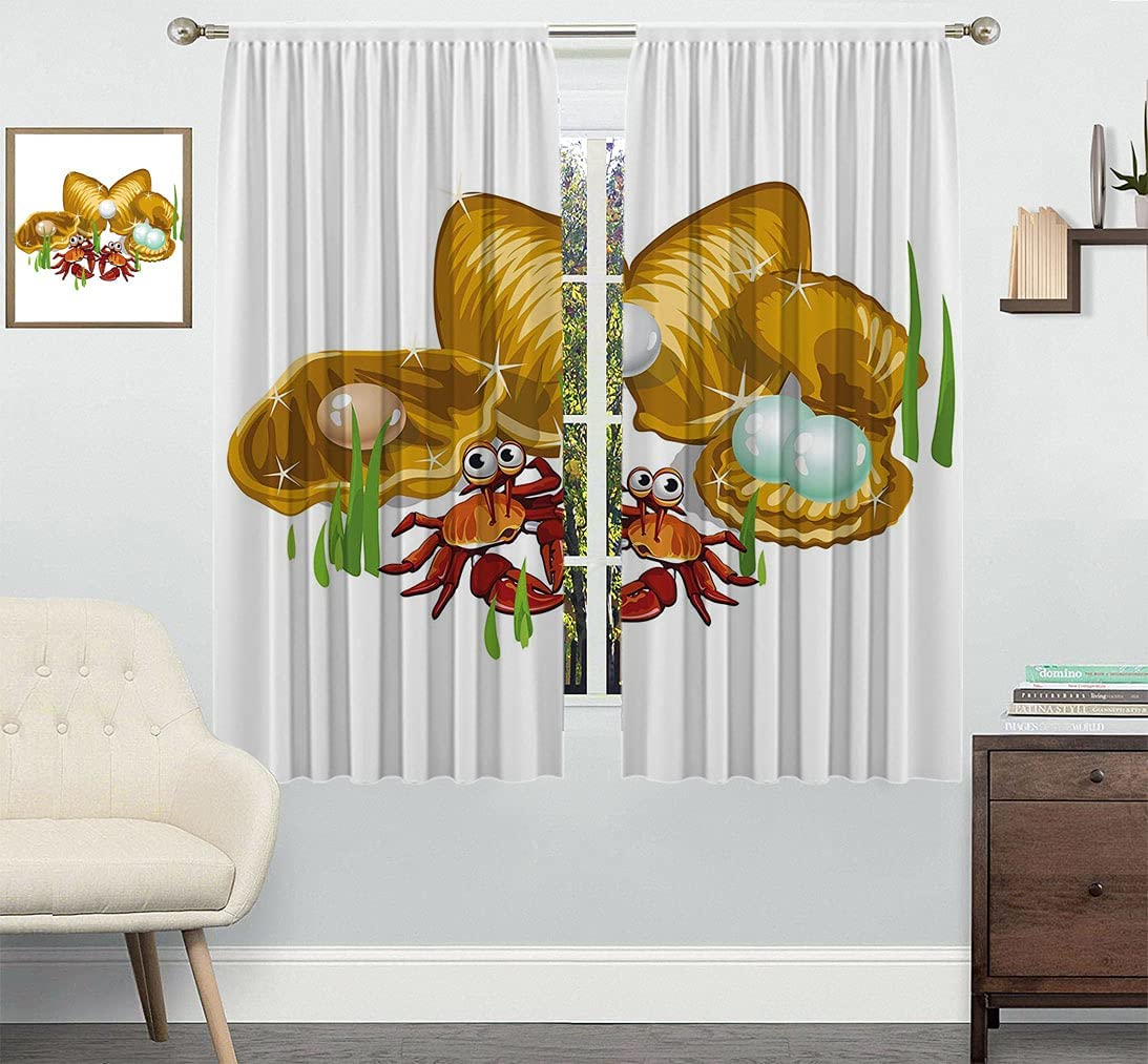 Crabs Customized Curtain Sea Life Three free shipping Theme Cartoon Gol Style NEW before selling