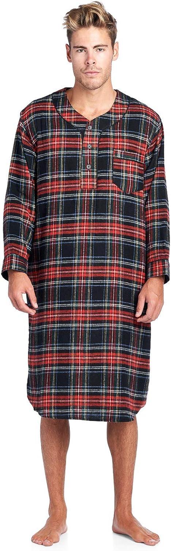 Ashford /& Brooks Herren Flanell Plaid Long Sleep Shirt Henley Nachthemd