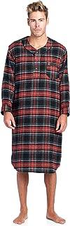 Mens Flannel Plaid Long Sleep Shirt Henley Nightshirt