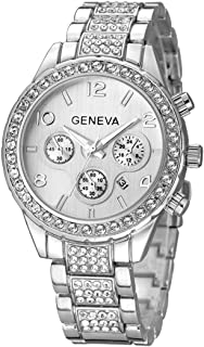 Fanmis Unisex Luxury Pave Floating Crystal Quartz Calendar Silver Stainless Steel Watch