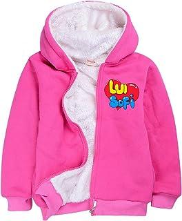 XFZDP Boy Girl a Maniche Lunghe con Cappuccio Velluto Popolari Ragazze Bambini Abbigliamento Top,Rosso,120cm